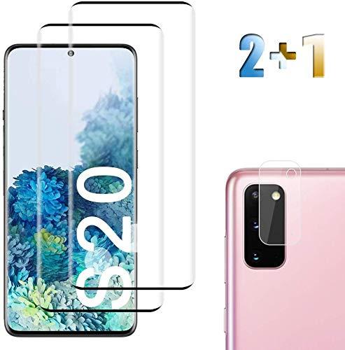 Panzerglas Schutzfolie für Samsung Galaxy S20 [2 Stück],+Linse Schutzfolie, Anti-Öl, Blasen und Fingerabdruck, Einfaches Anbringen, Kratzer, Klar Displayschutzfolie für Samsung Galaxy S20 – (6.2
