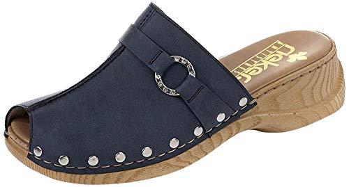 Rieker 65062 Damen Clogs&Pantoletten,Gummi-Pantolette,Sommerclogs,modisch,Fashion,denim/15 (Blau),37 EU / 4 UK