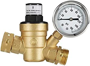 Kohree RV Water Pressure Regulator Valve, Brass Lead-Free Adjustable Water Pressure Reducer with Gauge and Inlet Screened Filter for RV Camper Travel Trailer