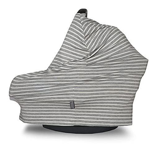 Covered Goods-Nursing Covers for Women, Multipurpose Scarf for Breastfeeding, Baby Carrier Cover and Styling Cloth with Unique Patterns(Grey and Ivory Pinstripe)