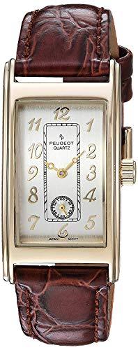 Peugeot Herren-Armbanduhr, klassisches Design, Lederband