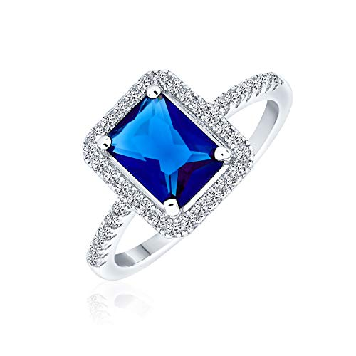 Bling Jewelry 3CT AAA CZ Pave Band Rectangle Solitaire Halo Blue Simulated Sapphire Emerald Cut Engagement Ring 925 Sterling Silver