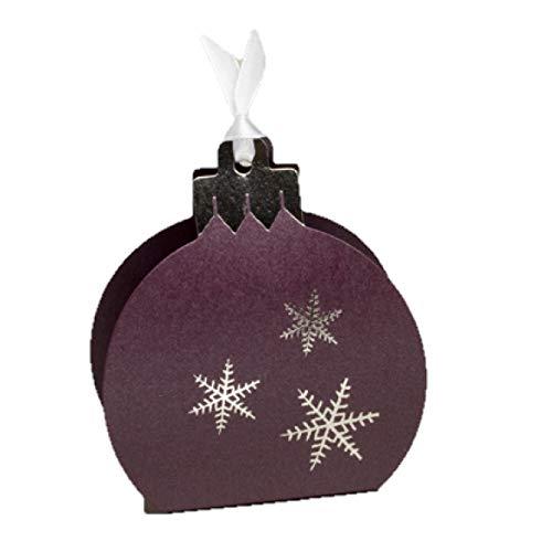 Ballotins à dragées - boites à Chocolat Noël Forme Boule de Noël Couleurs au Choix x6 noël Mariage baptême Communion Anniversaire- (Nacré Prune imp. Argent)