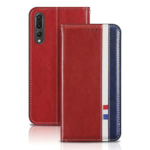 YaMiDe Case Compatible for Huawei Mate 20 Pro Case, Premium PU Leather case, Calfskin texture, Flip Cover with inner Magnetic Closure, Reddish brown with blue