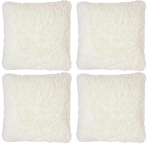 Adore 4 x Super Soft Faux Fur Cushion Cover Covers Cuddly Shaggy 43x43cm, Cream