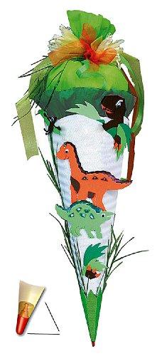 alles-meine.de GmbH BASTELSET Schultüte - Dinosaurier 85 cm - mit Holzspitze - Zuckertüte Roth - ALLE Größen - 6 eckig Saurier Dinos T-Rex Jungen