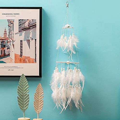 DromenvangerModerne Witte Mini Lantaarn Veer Handgeweven Windgong Stijlvolle Thuis Woonkamer Studie Ambachten Venster Slaapzaal Vensterbank Muur Opknoping Decoratie