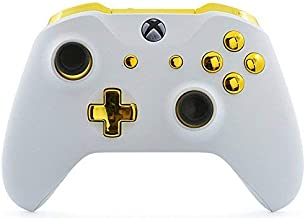 White/Gold Rapid Fire Custom Modded Controller Compatible with Xbox One S/X 40 Mods for All Major Shooter Games (with 3.5 Jack)