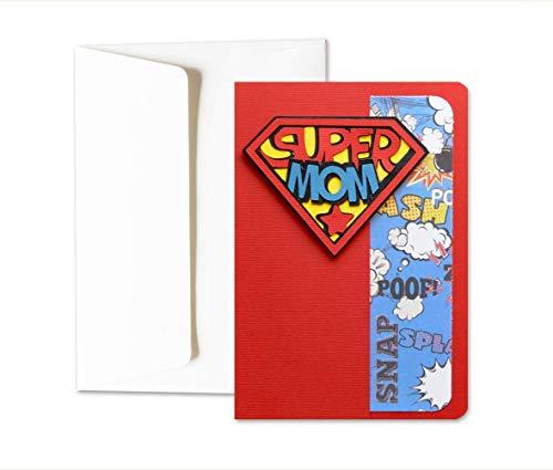 Super Mom – Día de la Madre - Mom - superpotencias - tarjeta de felicitación y sobres (formato 15 x 10,5 cm) - vacío por dentro, ideal para su mensaje personal - totalmente artesanal.
