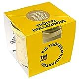 Die Trüffelmanufaktur - Trüffel Hollandaise Soße, Feinkost Trüffelcreme mit 10% echtem schwarzem Trüffel, Trüffelhollandaise Sauce für Spargel, Gemüse, Fisch & Fleisch, Trüffelsoße weiß im 180 g Glas