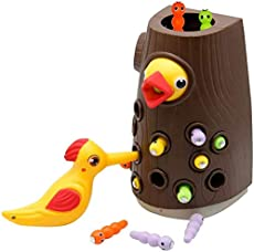 Zcaukya Magnetic Toddler Toy Game Set, Fine Motor Skill Preschool Toys,Woodpecker Catch and Feed Game, Magnetic Bird Caterpillars Toy Set for Girl and Boy 2 Years Old