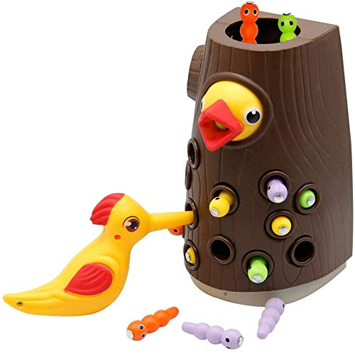 Zcaukya Magnetic Toddler Toy Game Set, Fine Motor Skill Preschool Toys,Woodpecker Catch and Feed...