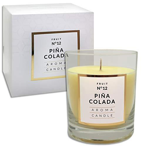 250 g Duftkerze im Glas | 12 Düfte | Duftwachs Kerze mit 114 Std. Brenndauer in edler Geschenkverpackung (Pina Colada N°12)