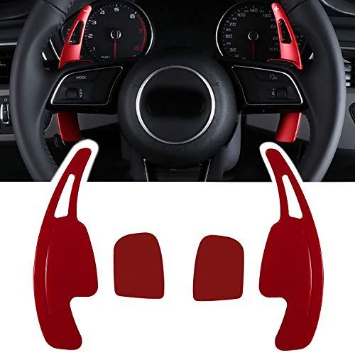 Danti 2Pcs Aluminum Steering Wheel Dull Polish Shift Paddle Shifter Extensions Shift Paddle Blades For Audi A3 A4 Q7 S3 2017-2019 A5 Q5 S4 S5 SQ5 2018-2019 Q8 2019 TT TTS 2016-2019 (Red)