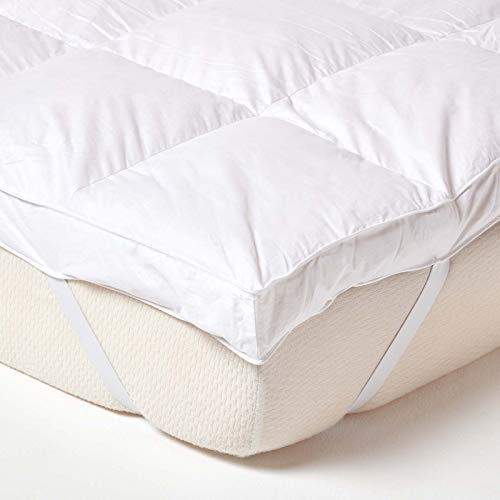 HOMESCAPES White Goose Feather Mattress Topper 7cm Deep Extra Thick Bed Topper 100% Cotton Anti Dust Mite & Feather Proof Fabric Hypoallergenic & Downpass Certified Washable at Home, Single Size