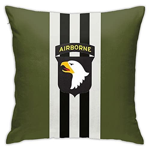Funda de almohada con diseño de rayas de día D con 101st Airborne Patch Print Funda de almohada decorativa para decoración del hogar cuadrada 45,7 x 45,7 cm