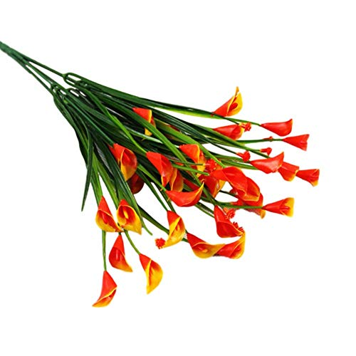 930318 Flor de gypsophila Artificial, plástico Cala Lirios Flores Ramo de arreglo de Flores Falsas realistas para la Fiesta de Bodas Home Garden Office Decor Rose Rojo TINGG (Color : Orange)