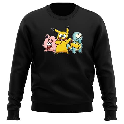Pull Noir parodie Pokémon - Bob l'éponge - Bob, Carlo, Patrick cosplayés en Pikachu, Carapuce et Rondoudou - Une troupe de joyeux Cosplayers :) (Sweat