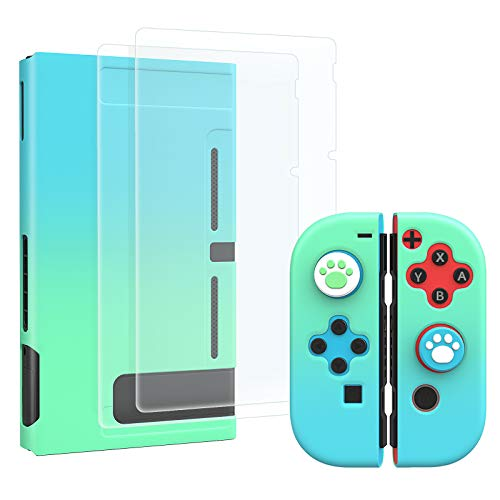 MoKo Protective Case for Switch, Protective Case Cover with 4 Thumb Grip Caps & 2 HD-Clear Tempered Glass Screen Protectors, Shock-Absorption Anti-Scratch Non-Slip Case, Blu + Verde