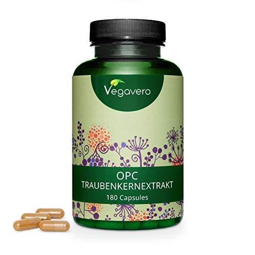 OPC Traubenkernextrakt Vegavero ® | 500 mg (HPLC Methode) | OPC aus französischen Weintrauben | Laborgeprüft & Ohne Zusatzstoffe | 180 Kapseln | Vegan