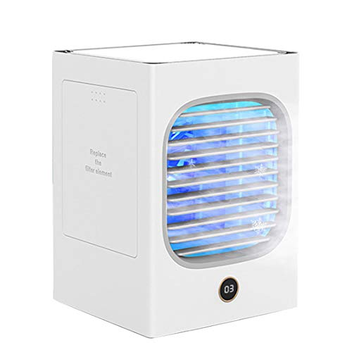 xiaohuozi Tragbarer Desktop-Klimaanlage Persönlicher Home Anion Klimageräte Schnelle Abkühlbefeuchtung für zu Hause Schlafzimmer Büro im Freien,White