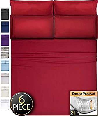 Queen Sheets Bed Sheets Queen Size - 6 Piece Sheets Queen Size Sheets Queen Bed Sheets Queen Sheet Set Queen Size Extra Deep Pocket Queen Sheets Microfiber Sheets Queen Bedding Sets Sheet Burgundy
