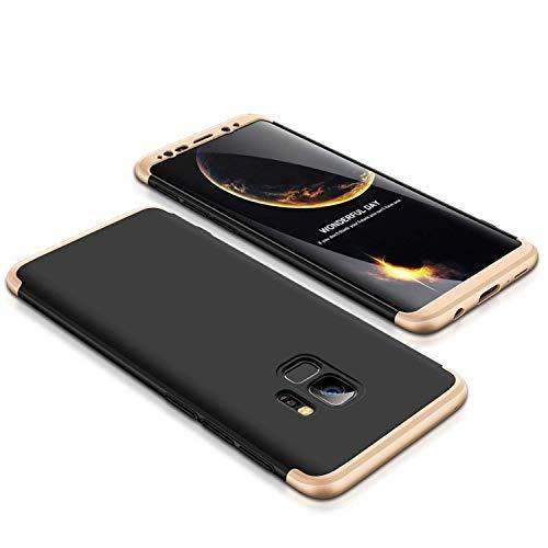 AIsoar Coque Compatible/Replacement pour Samsung Galaxy S8 Plus, Ultra Fine 3 en 1 Détachable Anti-Rayures Housse+Verre Trempé, 360° Entire Corps Antichoc Protection pour Samsung S8 Plus (Or Noir)