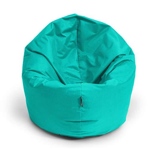 BuBiBag Sitzsack L - XXL 2 in 1 mit Füllung Sitzkissen Topfenform Bodenkissen Kissen Sessel BeanBag (125 cm Durchmesser, türkis)