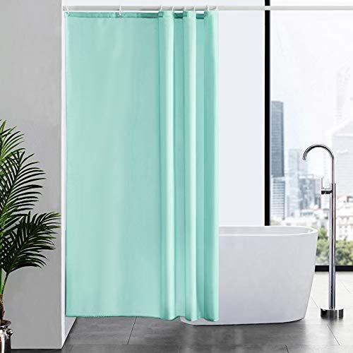 Furlinic Duschvorhang Textil Anti-schimmel Wasserdicht Waschbar Badvorhang aus Polyester Stoff Grün 120x200cm mit 8 Duschvorhangringen.