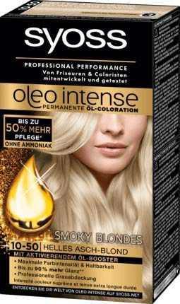 Syoss Oleo Intense Coloration 10-50 Helles Asch-Blond Smoky Blondes, 1 St (1er Pack)