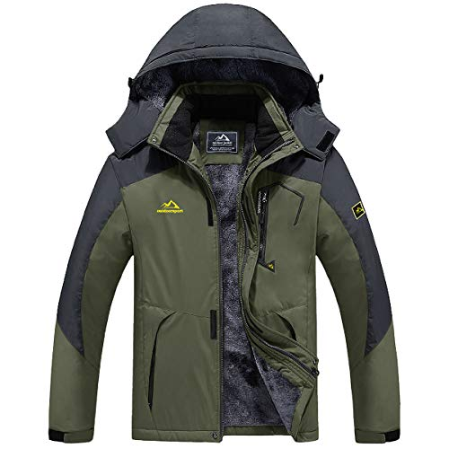 TACVASEN Men's Ski Jacket Windproof Fleece Liner Jacket Winter Snow Hooded Coat, Green, 2XL