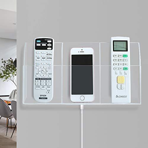 Joqixon Acrylic Remote Control Holder Wall Mount Remote Holder Wall Adhesive TV Remote Caddy for Wall Media Organizer Box Clear