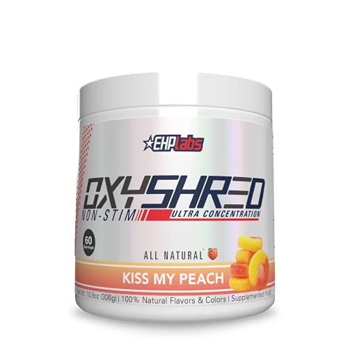 OxyShred Non-Stimulant Thermogenic Fat Burner by EHPlabs - Weight Loss Supplement, Energy Booster, Pre-Workout, Metabolism Booster (Peach)