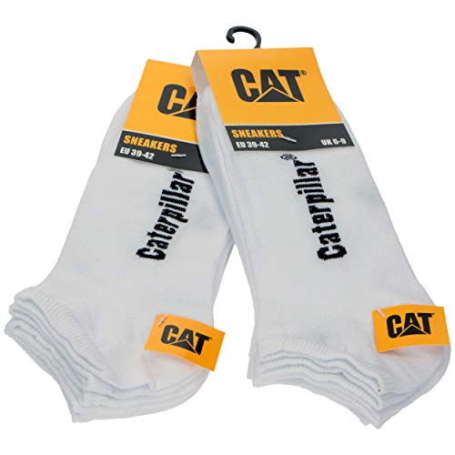 Caterpillar 6 paires de chaussettes pour hommes Sneaker Cat en cheville souple en coton (Blanc, 39-42)