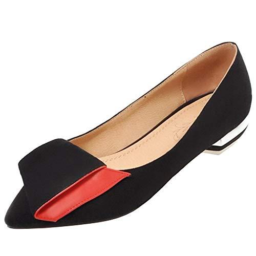 Zanpa Damen Süss Schnalle Pumps Flach Ballets Slip on Mode Wildleder Shoes Custome Schule Footwear Niedirg Absatz Black Size 40