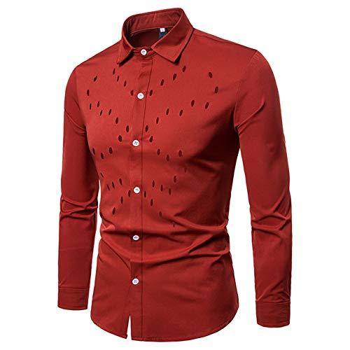 Herren Aushöhlen Design Lange Ärmel Freizeit und Mode Shirt(S,rot)
