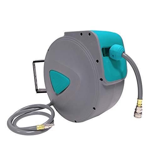 UISEBRT Schlauchtrommel Automatik Druckluft 20m - Druckluftschlauch Aufroller Wandschlauchhalter Grau (20m)