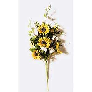 Artificial Silk Flowers Sunflower/Cotton Spray Arrangement for Home or Office or Wedding or Event Decor