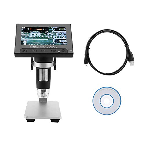 USB Microscope DM4 500/1000X Magnification 720p Screen Resolution Digital Microscope Electronic 8Pcs LED Lights PCB Magnifier with 4.3in LCD Display(Aluminum Alloy Holder)