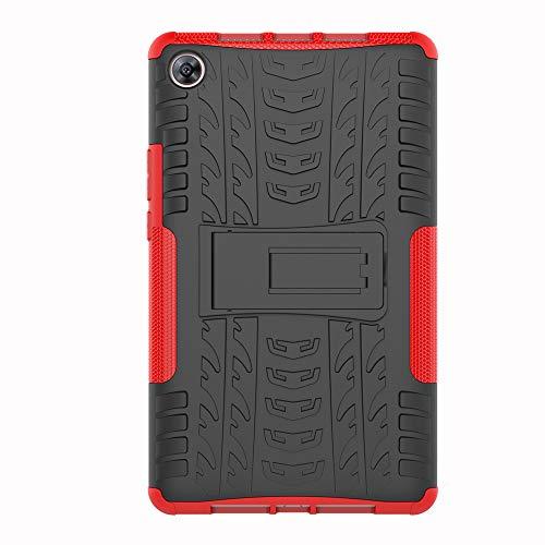 Sunrive Für Huawei MediaPad M5 8 8.4 Zoll, Hülle Tasche Schutzhülle Etui Hülle Hybride Silikon Stoßfest Zwei-Schichte Armor Design schlagfesten Ständer Slim Fall(A rot)