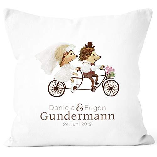 SpecialMe® personalisierbare Kissenhülle zur Hochzeit, Hochzeitskissen Igel Fahrrad Tandem Hochzeitsgeschenk Geldgeschenk weiß Unisize