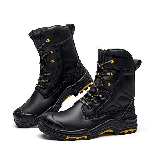 DRKA 8'' Safety Toe Boots For Men,Men's Waterproof Steel Toe Work Boots(20980-blk-43)