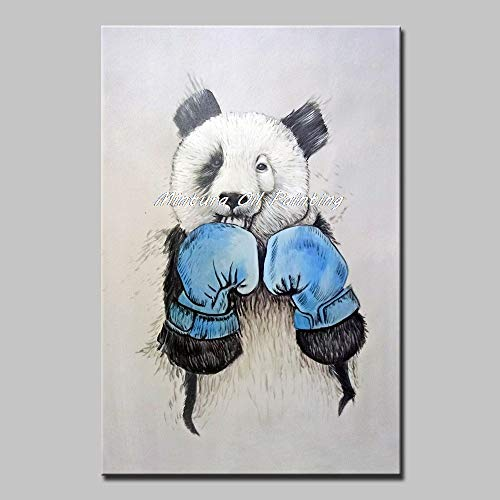 LIEFENGDA Oil Painting On Canva,Blue Gloves Boxing Panda Animal,Large 100% Handpainted Morden Oil Painting On Canvas Wall Art Wall Pictures for Live Room Home Decor,80X120Cm