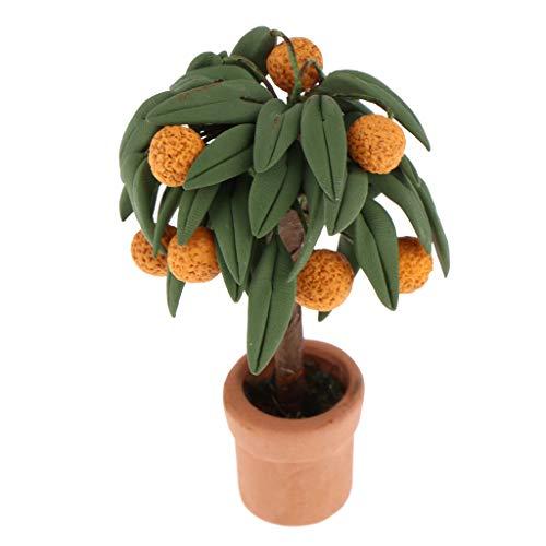 1 Stück Miniatur Topfpflanze Orange Tangerine Obstbaum im Topf Modell für 1/12 Puppenhaus Wohnzimmer Dekoration