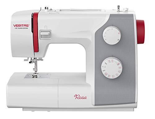 VERITAS Máquina de coser rosa – 4 niveles de programa de ojales, 23 programas de puntada, para tejidos sólidos, incluye accesorios – 125 años de edición aniversario