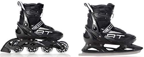 RAVEN 2in1 Schlittschuhe Inline Skates Inliner Profession Black verstellbar (38-42(25cm-27,5cm))