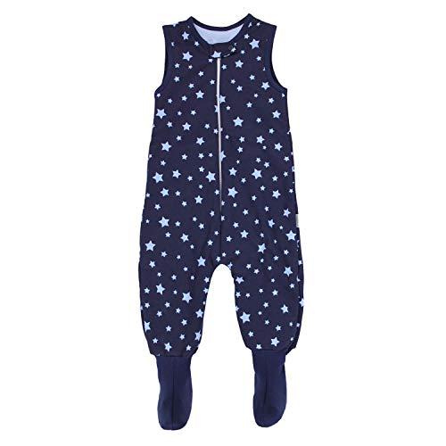 TupTam Baby Winter Schlafsack mit Beinen und Füßen, Farbe: Sterne Blau/Dunkelblau, Größe: 80-86