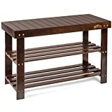 Homemaid Living Bamboo 3 Tier Shoe Rack Bench, Premium Shoe Organizer or Entryway Bench, Perfect for Shoe Cubby, Entry Bench, Bathroom Bench, Entryway Organizer, Hallway or Living Room (Brown)
