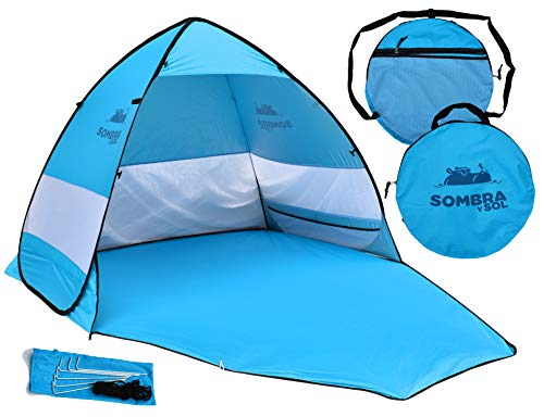 Sombra y Sol Pop Up Beach Tent UV Protection Sun Shade Canopy Instant Shelter Cabana