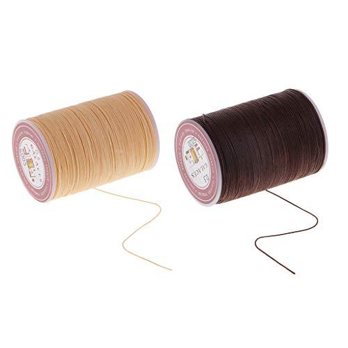 Baoblaze 2 Piezas 130m 0.5mm Hilo Encerado Cordón Cuerda de Costura Herramienta de Patchwork
